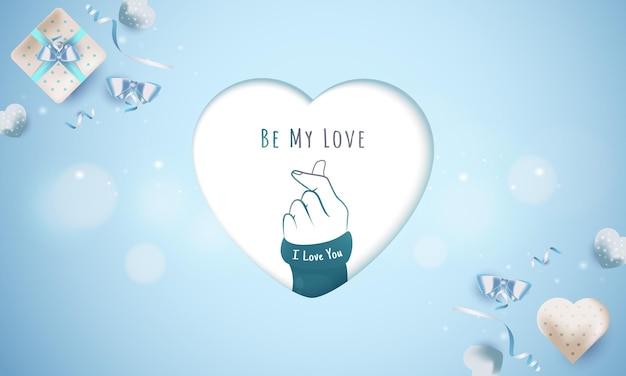 Sé mi mensaje de amor con el símbolo de amor de dedo para el concepto de saludo