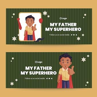 Mi padre mi superhéroe diseño de banner de estilo de dibujos animados
