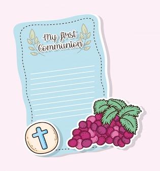 Mi primera tarjeta de comunión con hostia y uvas.