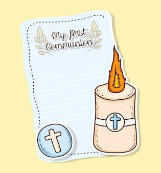 Mi primera tarjeta de comunión con hostia y vela.