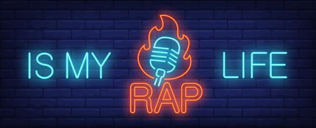 Mi signo de neón de la vida del rap. letrero con inscripción y micrófono en llamas.