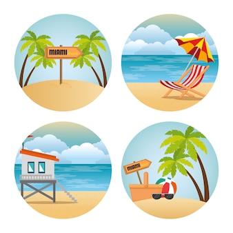 Miami beach set escenas ilustración vectorial diseño