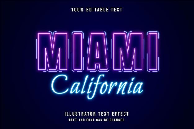 Miami california, efecto de texto editable en 3d estilo de texto de neón púrpura degradado rosa moderno