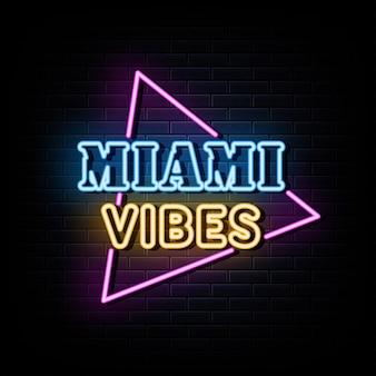 Miami vibes letreros neón plantilla diseño vectorial estilo neón
