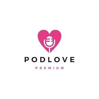 Mic love podcast logo icono ilustración