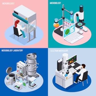 Microbiología laboratorio concepto conjunto de objetos para experimentos científicos vasos y matraces isométricos