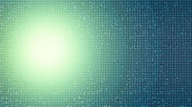 Microchip de circuito de luz verde sobre fondo tecnológico, alta tecnología digital y seguridad