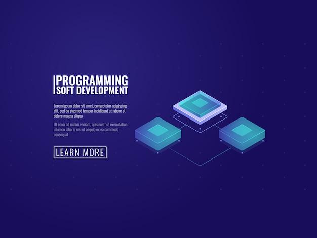 Microchip de computadora futurista, sala de servidores y concepto de transferencia de datos