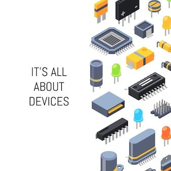 Microchips isométricos e íconos de piezas electrónicas