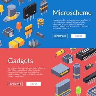 Microchips isométricos e iconos de piezas electrónicas