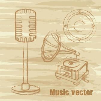 Micrófono antiguo gramófono y altavoz
