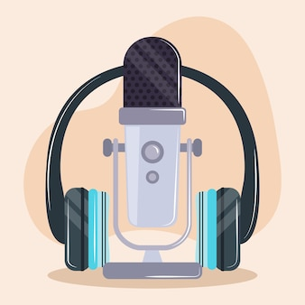 Micrófono y auriculares para podcast