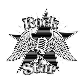 Micrófono creativo con alas ilustración vectorial. tatuaje retro monocromático para estrella de rock con letras