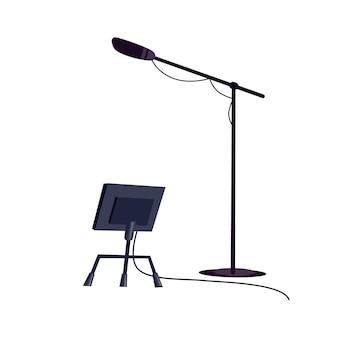 Micrófono de dibujos animados plano de vector en soporte y estante aislado en equipo de estudio de tv profesional de fondo vacío, concepto de industria de producción de televisión, diseño de anuncio de banner de sitio web