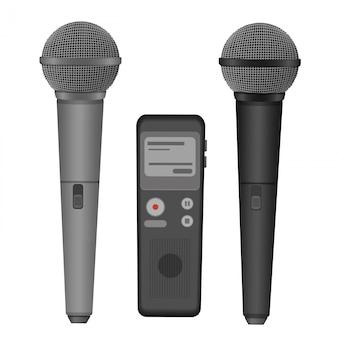 Micrófono y dictáfono.