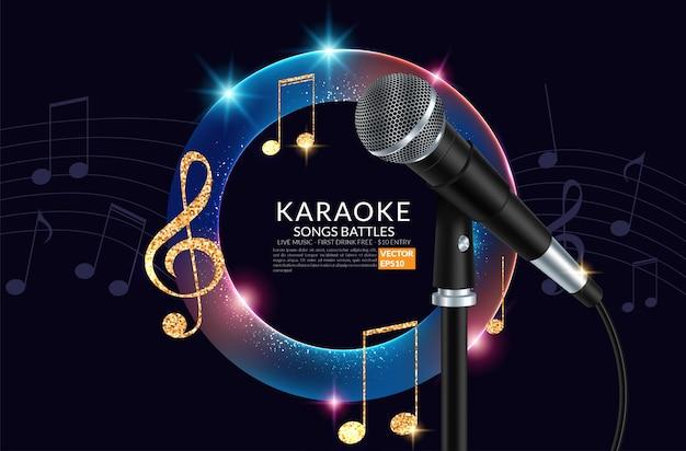 Micrófono e inscripción karaoke fiesta en el fondo de arte.