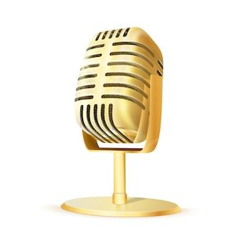 Micrófono de estudio dorado vintage.