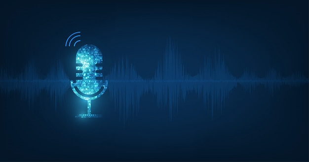 Micrófono de icono abstracto de vector en onda de sonido digital sobre fondo de color azul oscuro