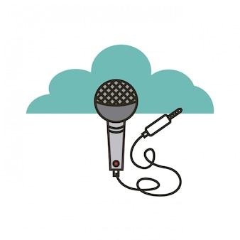 Micrófono con icono de cable