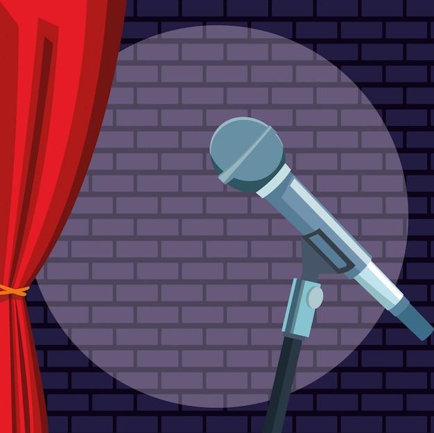 Micrófono luz pared ladrillo cortina stand up comedia show