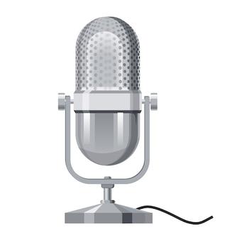 Micrófono de maqueta realista de metal plateado diseño de icono de estilo plano de micrófono música sonido melodía canción arte musical y composición