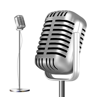 Micrófono de metal retro con soporte