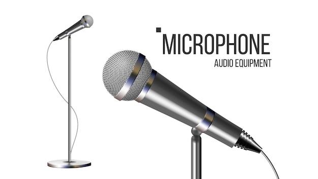 Micrófono moderno con soporte