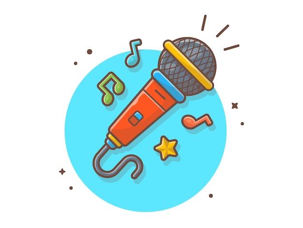 Micrófono con nota y melodía de música vector icono ilustración. voz hablar y grabar. concepto de icono de tecnología y música blanco aislado