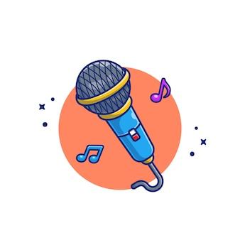 Micrófono con notas musicales ilustración del icono de dibujos animados. concepto de icono de instrumento de música premium aislado. estilo plano de dibujos animados