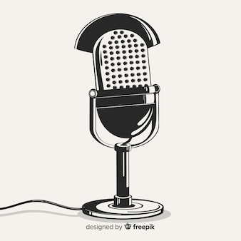 Micrófono retro dibujado a mano realista