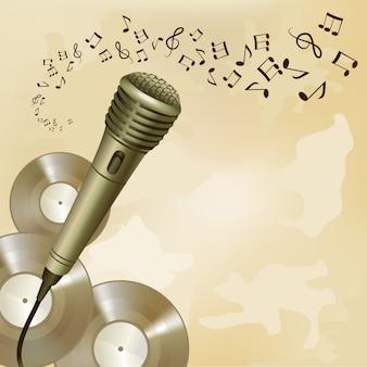 Micrófono retro en el fondo de la música