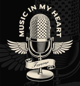 Micrófono vintage con alas y cinta en estilo tatuaje. el texto está en el grupo separado.