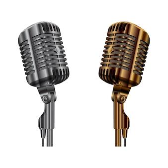 Micrófono vintage, micrófono de audio de estudio de radio, escenario de concierto o micrófono de karaoke, ilustración de equipo de metal dorado y plateado