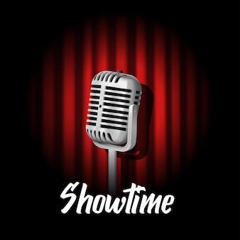 Micrófono vintage en el telón de fondo, showtime