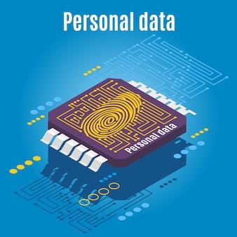 Microprocesador grabado con dactilograma de huella digital humana