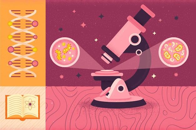 Microscopio y concepto de regreso a la escuela de adn