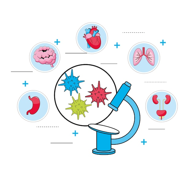Microscopio de diagnóstico de virus y tratamiento médico.