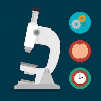 Microscopio escuela set elementos diseño