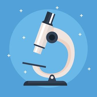 Microscopio, instrumento de laboratorio sobre fondo azul ilustración