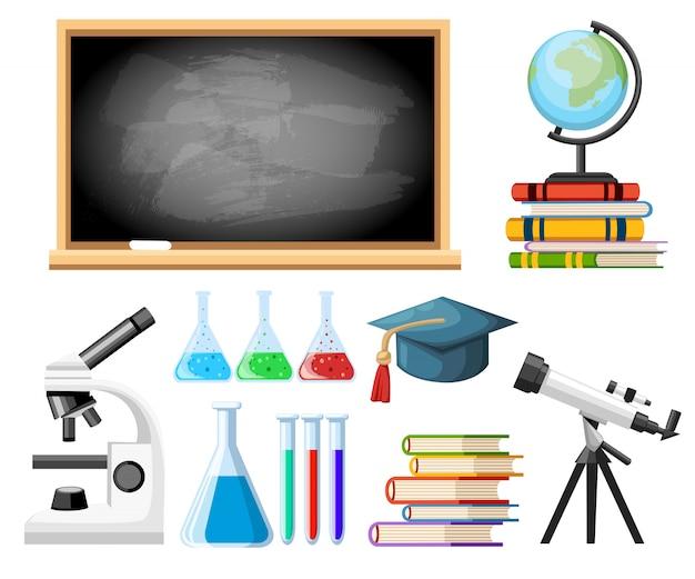 Microscopio, telescopio, tubos de ensayo y globo en los libros. concepto de estudio para escuelas, colegios y universidades. estilo de dibujos animados. ilustración sobre fondo blanco