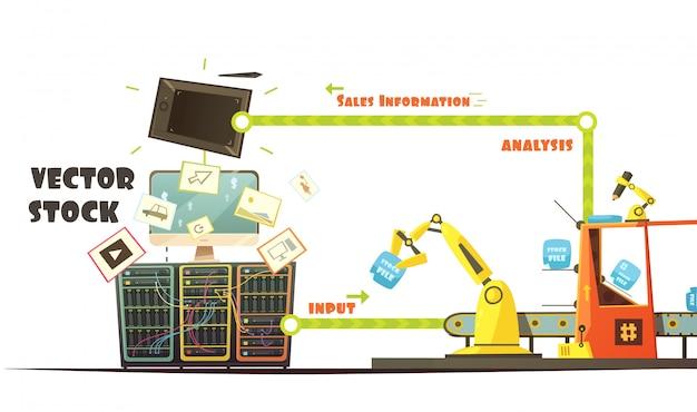 Microstock negocio propietario trabajando concepto esquema dibujos animados retro estilo