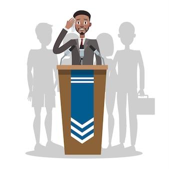 Miedo a hablar en público o glosfobia. el hombre tiene miedo de dar una presentación a la audiencia. trastorno de ansiedad social y salud mental. concepto de psicología. piso aislado