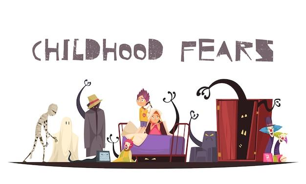 Miedos infantiles con símbolos de monstruos y payasos fantasmas