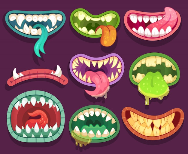 Miedosos monstruos bocas con dientes y lengua. elementos de halloween