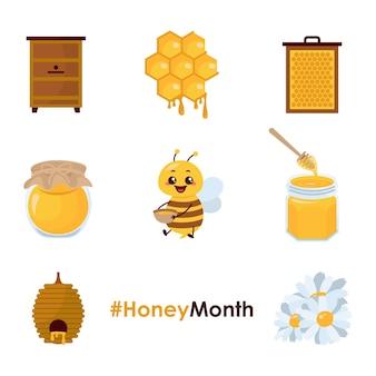 Miel de abeja flor salvaje tarro nido reina hexágono ilustración
