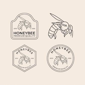 Miel abeja línea arte vintage logo set