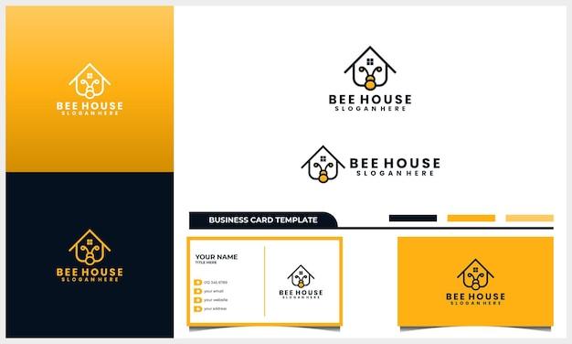 Miel de abeja con logotipo de casa o casa y plantilla de tarjeta de visita