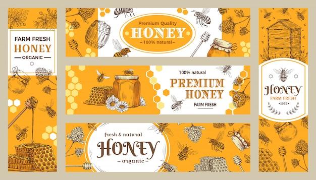 Miel . dulces saludables, abejas naturales, maceta de miel y colección de productos de granja de abejas.