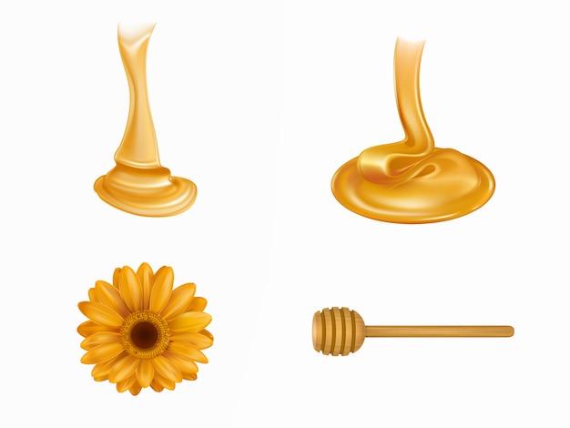 Miel fluida, cucharón de madera y flor amarilla.