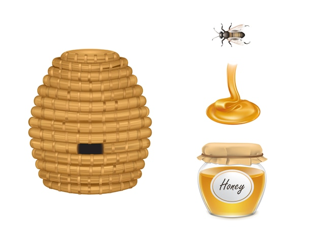 Miel fluida, frasco de vidrio con cubierta de tela, colmena e insecto abeja